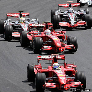 Fernando Alonso (top right) tried to overtake Lewis Hamilton (top left)