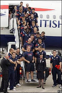 Welcome home! England's rugby team touch down in London after an amazing performance in the World Cup.