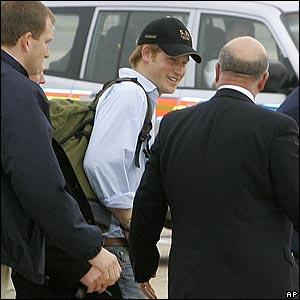 Who's this leaving the flight? It's Prince Harry. He travelled from Paris with the players after cheering them on.