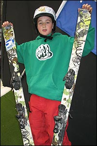 Josh has got his skis and he's ready to go...