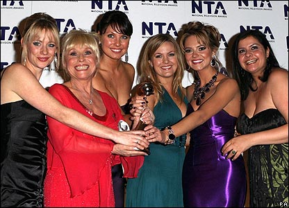 The EastEnders cast celebrate after the show was named most popular soap.