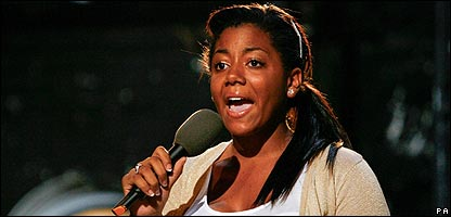 Emily Nakanda singing on X Factor