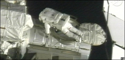Astronaut Scott Parazynski at the start of the spacewalk