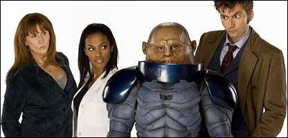 Catherine Tate as Donna, Freema Agyeman as Martha, Dan Starkey as Commander Skorr and David Tennant as The Doctor