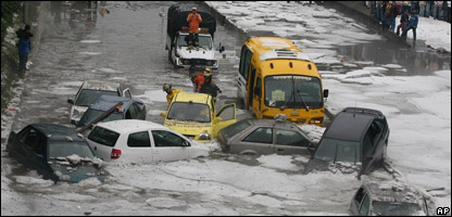 Cars trapped in the icy slush in Bogota, Colombia