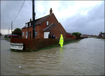 Stranded householders at Walcott near Great Yarmouth