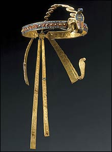 Tutankhamun's golden crown, called a royal diadem