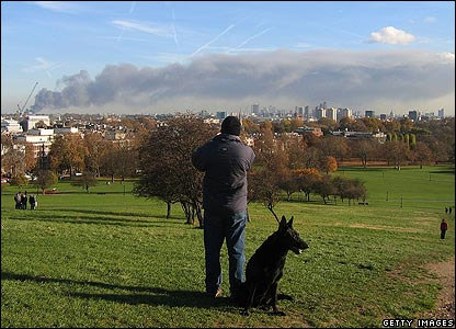 But up on Primrose Hill, it was really peaceful. Check out that smoke cloud - although the dog's not too bothered!