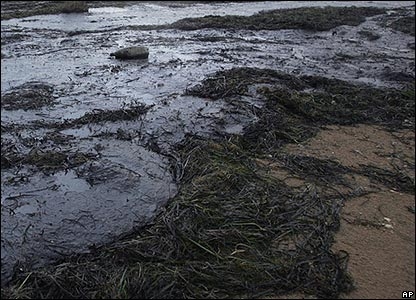 Thousands of gallons of oil spilled into the sea off the coast of Russia when a storm broke up an oil tanker and other ships.