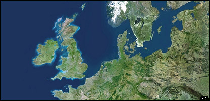 Satellite image of UK and part of Europe
