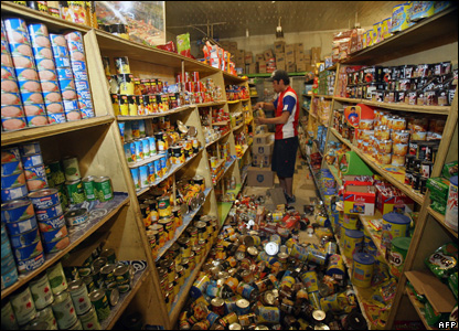 Tins and packets of food fell off shop shelves onto the floor during the quake
