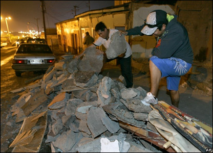 Debris from the earthquake in Tocopilla, Chile