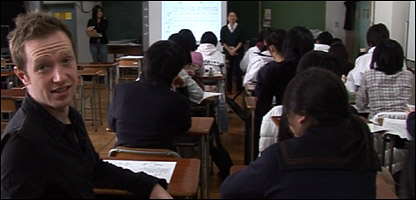 Newsround's Adam in class in Japan