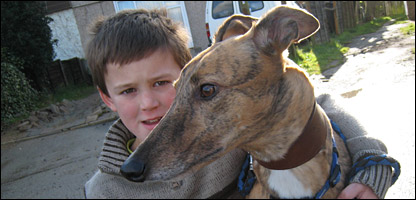 Phillip and his greyhound, Kelly