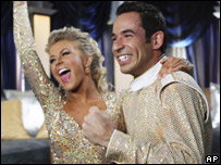 Winner Helio Castroneves with dance partner Julianne Hough