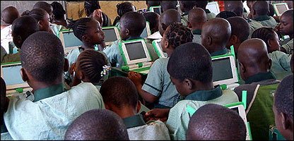 Kids in Nigeria using the laptops