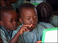 Kids in Nigeria with the laptops