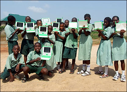 The kids show off their new gadgets. Kids in other countries - including Uruguay, Haiti and Rwanda - are also expected to be using the laptops soon.