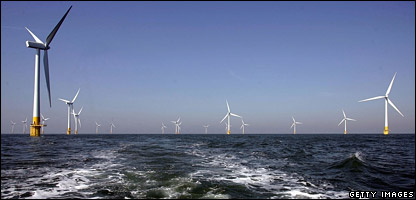 Wind turbines off the coast of Great Yarmouth