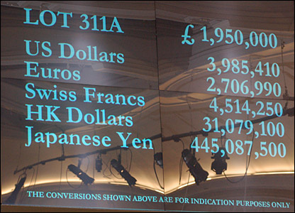 A screen showing the highest bid at the end of the auction