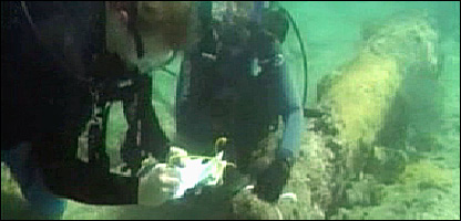 Divers studying the shipwreck