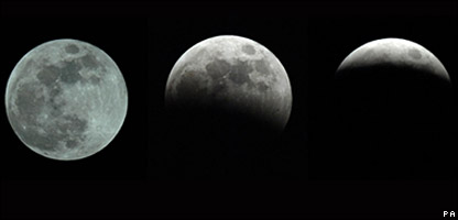 The moon during different stages of an eclipse
