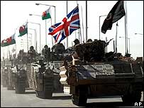 British military vehicles leaving Basra City in September 2007