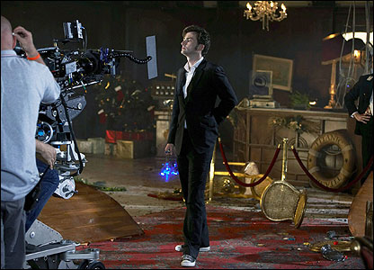 Another behind-the-scenes shot. David Tennant prepares to film a shot...