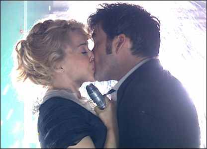 The Doctor and Astrid kissing