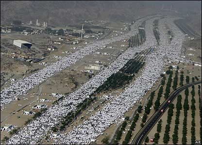 Pilgrims make their way to Mount Arafat