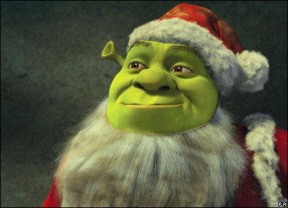 Shrek dressed up as Father Christmas