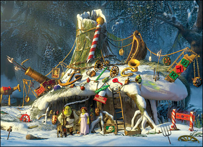 Shrek's home decorated for Christmas