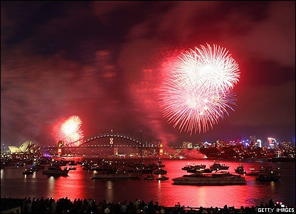 The first of the New Year's Eve fireworks went off with a bang in Sydney, Australia. This display happened before midnight so kids there could see them