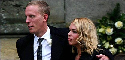 Billie Piper and Laurence Fox leaving the church