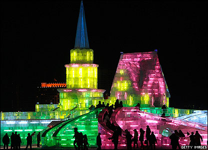 This is actually a huge sculpture made of ice! It's all lit up to mark the start of 2008 in China