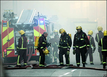 Firefighters at the Royal Marsden fire