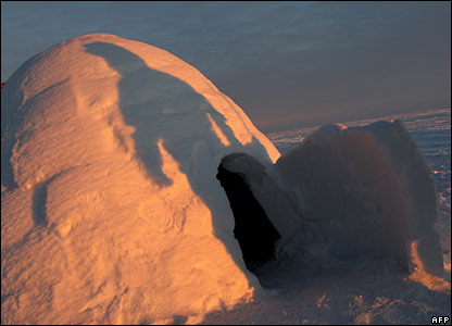 An igloo toilet at the glacial runway