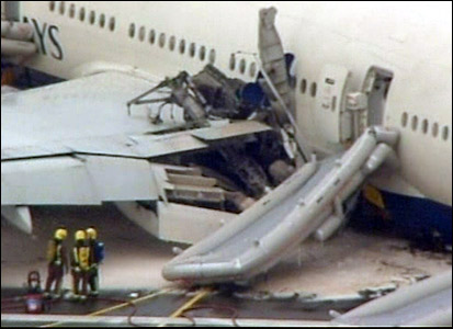 The plane's damaged wing
