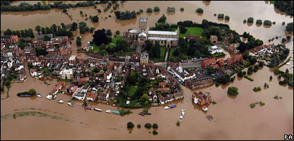 Tewkesbury during the 2007 summer floods