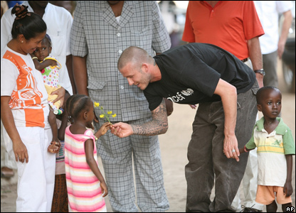 David Beckham greets children in Sierra Leone