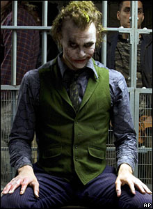 Heath Ledger in costume as The Joker in The Dark Knight