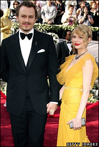 Heath Ledger with ex-girlfriend Michelle Williams