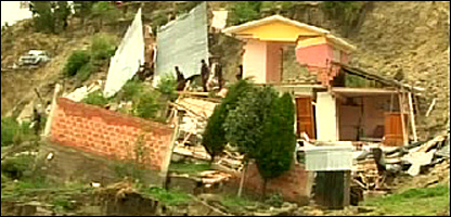Homes damaged by the mudslide