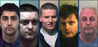 The convicted robbers L-R: Roger Coutts, Lea Rusha, Jetmir Bucpapa, Ermir Hysenaj, Stuart Royle