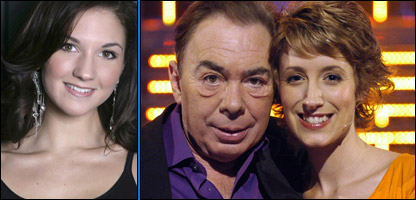 Summer Strachan (left) and Sir Andrew Lloyd Webber and Connie Fisher