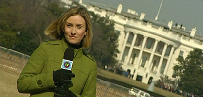 Laura filming in front of the White House