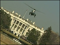 The President's helicopter on its way to the White House