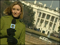 Laura filming in front of the White House in Washington, America