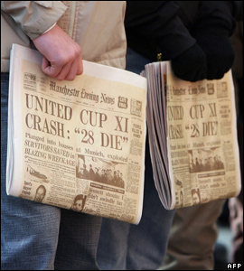 Replicas of newspapers