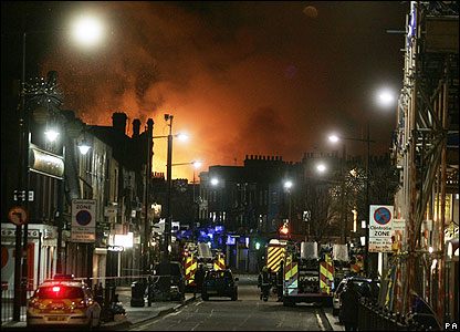One hundred firefighters were called in to put out the massive blaze. Flames were leaping 30ft into the air